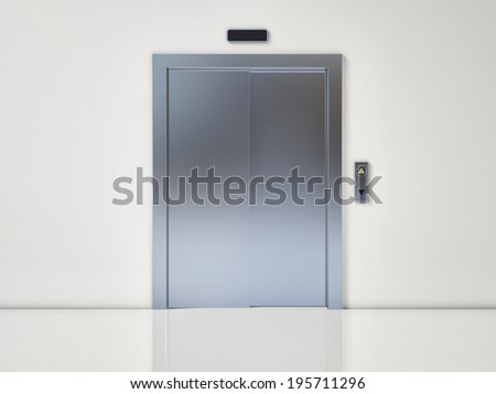 Modern Elevator with Closed Door on White Wall
