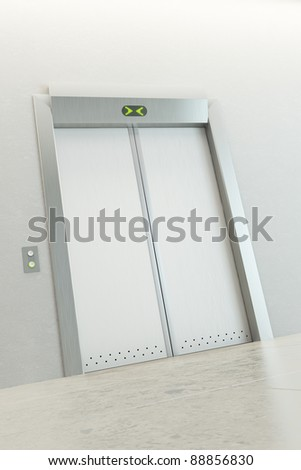 modern elevator with closed doors - stock photo