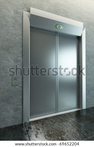 modern elevator with closed doors, 3d render - stock photo