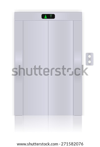 Modern elevator with closed doors . Isolated on white background. Raster version - stock photo