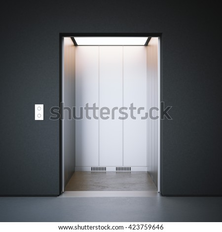 Modern elevator with closed metal  doors and dark walls. 3d rendering - stock photo