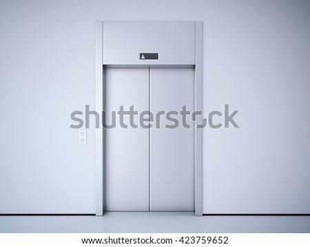 Modern elevator with closed metal  doors. 3d rendering - stock photo