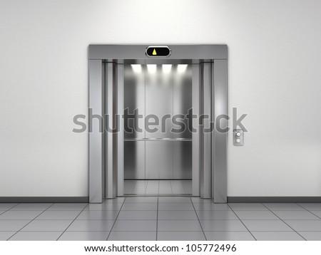 Modern elevator with open doors - stock photo