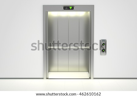 Modern elevator with opened doors, 3D rendering