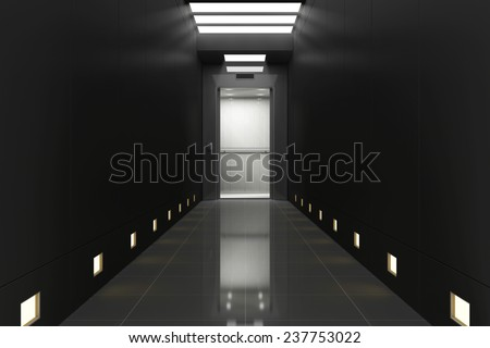 Modern Elevator with Opened Doors in Black Corridor Interior. 3D Rendering - stock photo