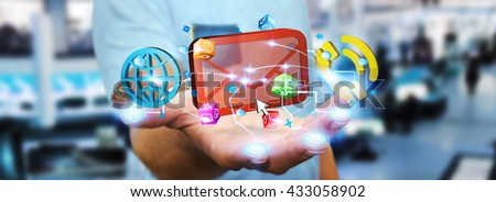 Modern email, phone and internet devices connected with businessman fingers '3D rendering' - stock photo