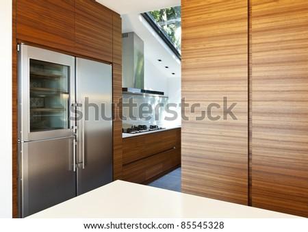 Modern empty apartment, kitchen view - stock photo