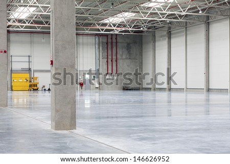 Modern, Empty, Brand New, Huge Storehouse - stock photo