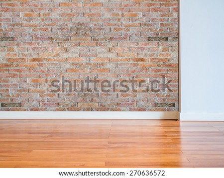 Modern empty  interior brick wall with wooden floor/ copy space background and texture