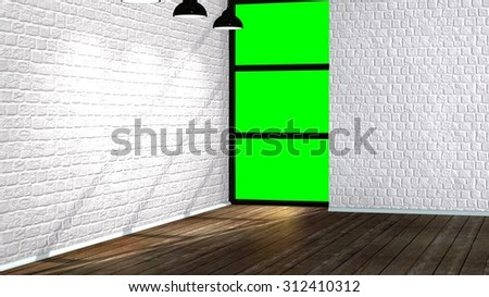 Modern empty interior in the loft style with old brick wall and green screen window  - stock photo