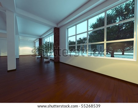 Modern empty interior with white walls and columns