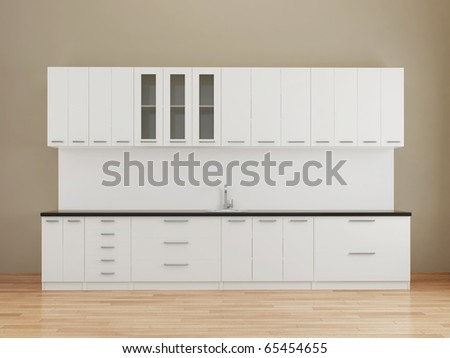 Modern empty kitchen in white - stock photo