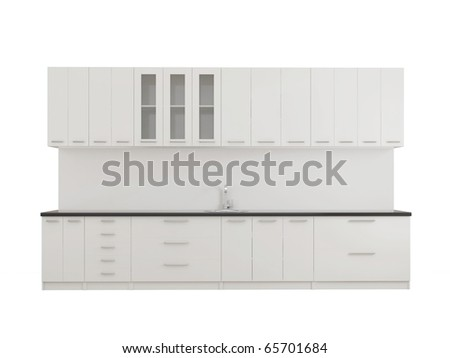 Modern empty kitchen isolated on white - stock photo