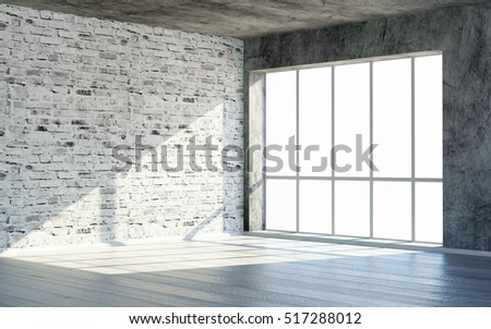 Modern Empty Loft Grunge Room 3D Interior with Large Windows and Sunlight. 3D Rendering.