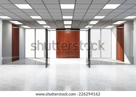 Modern Empty Office Interior with Big Windows - stock photo