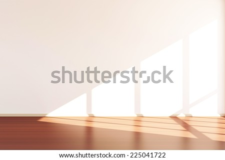 Modern Empty Room 3D Interior with Sunlight  - stock photo