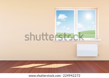 Modern Empty Room 3D Interior with Window in Light Tones  - stock photo