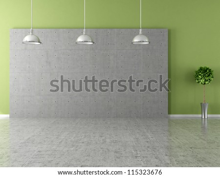 Modern empty room with panel and concrete floor - stock photo