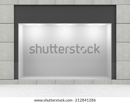 Modern Empty Store Front with Big Window - stock photo