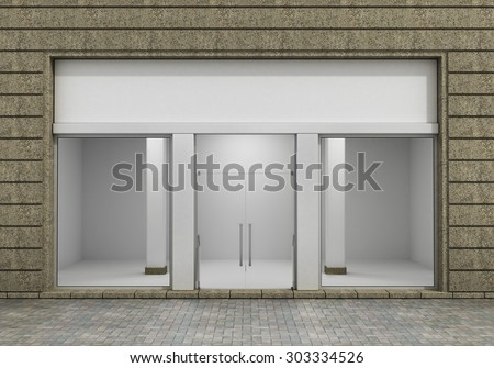 Modern Empty Store Front with Big Window. - stock photo