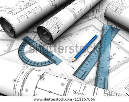 Modern  engineering plan with pencil and rules on it - stock photo