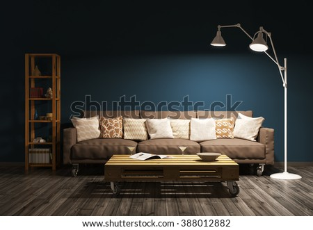 Modern evening interior of living room with sofa, floor lamp against of brown wall 3d render - stock photo