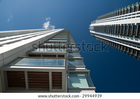 Modern executive flats and office building in Canary Wharf, London.