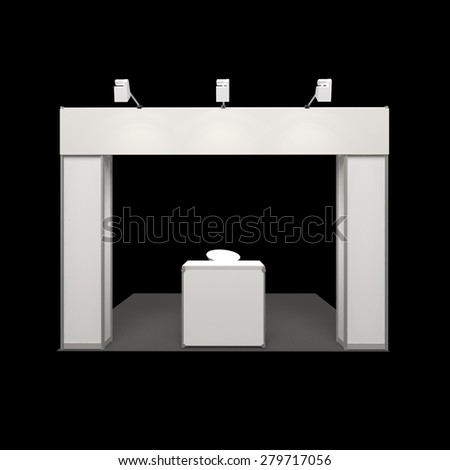 modern exhibition booth with blank frieze and reception counter isolated on black - stock photo