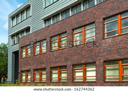 modern exterior of a new office building - stock photo