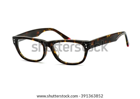 Modern eye glasses with shadows isolated on white - stock photo