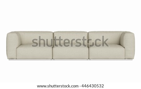 Modern fabric sofa , three seat isolated on white background , 3D render - stock photo