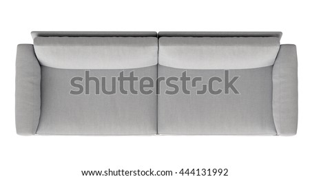 modern fabric sofa , top view , isolated on white background - stock photo