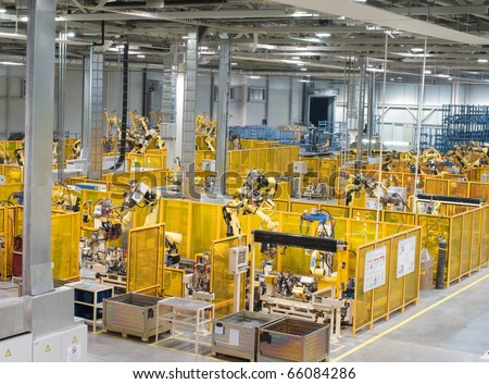 Modern factory, indoor hall ,workshop - stock photo