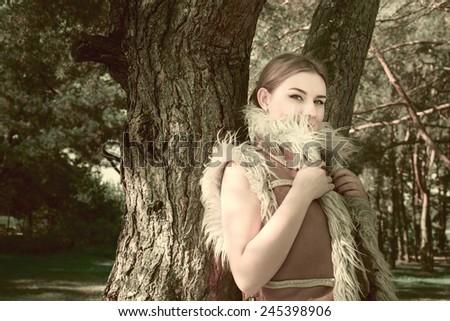 modern fairy tale about young girl beauty in the wood - stock photo