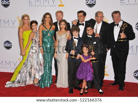 Modern Family cast & producers at the 64th Primetime Emmy Awards at the Nokia Theatre LA Live. September 23, 2012  Los Angeles, CA Picture: Paul Smith - stock photo