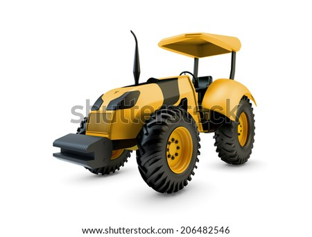 Modern farm tractor isolated on white background - stock photo