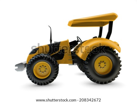 Modern farm tractor isolated on white background