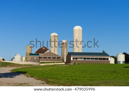 Modern farm with barns and silos