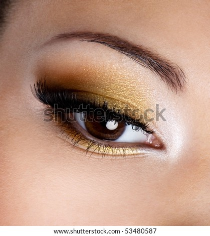 Modern fashion makeup of a female eye - macro shot - stock photo