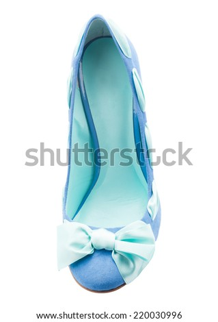Modern fashionable women shoe shot in studio view from above