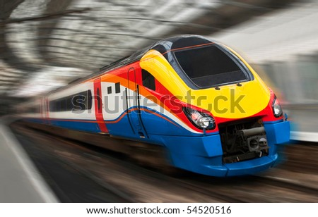 Modern Fast Passenger Speed Train in the Station with Motion Blur - stock photo