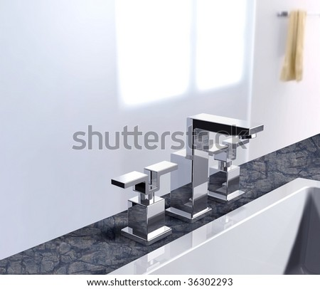 modern faucet - stock photo