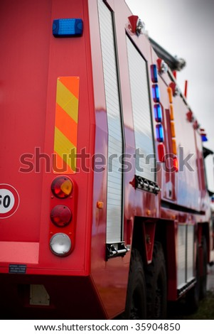 Modern Fire Track Back View - stock photo