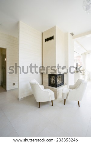 Modern fireplace in white, spacious living room