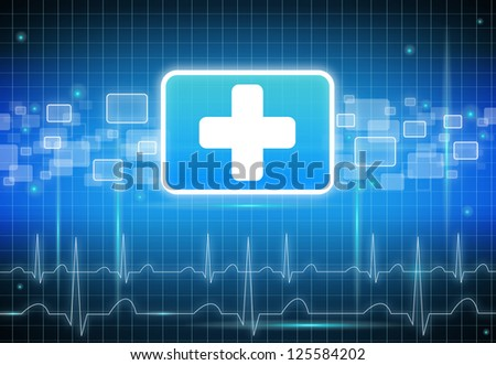 Modern first aid sign on black and blue background - stock photo