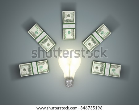Modern flat business concept of money idea with light bulb; Financial, investment, innovation or start up icon with soft shadow - stock photo