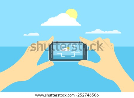 Modern flat conceptual illustration of taking a shot of a landscape by mobile phone. Person holds in hands smart phone and focuses on skyline. Picture for memory during travel - stock photo