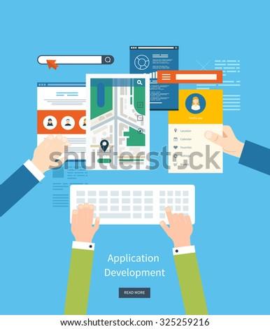 Modern flat design application development concept  for e-business, web sites, mobile applications, banners, mobile navigation.  - stock photo