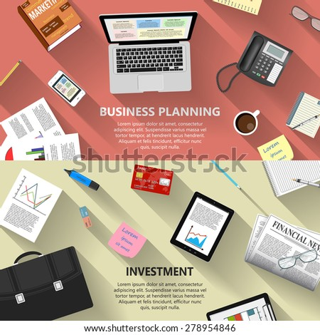 Modern flat design business planning and investment concept  for e-business, web sites, mobile applications, banners, corporate brochures, book covers, layouts etc. Raster illustration - stock photo