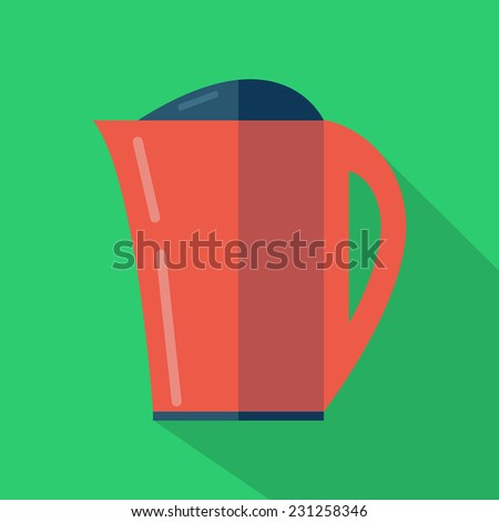 Modern flat design concept icon. Kettle tea and Coffee makers.  illustration. - stock photo